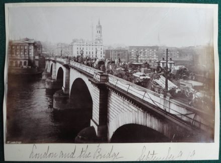 'New' London Bridge from the River Thames Antique Albumen Photo circa 1890